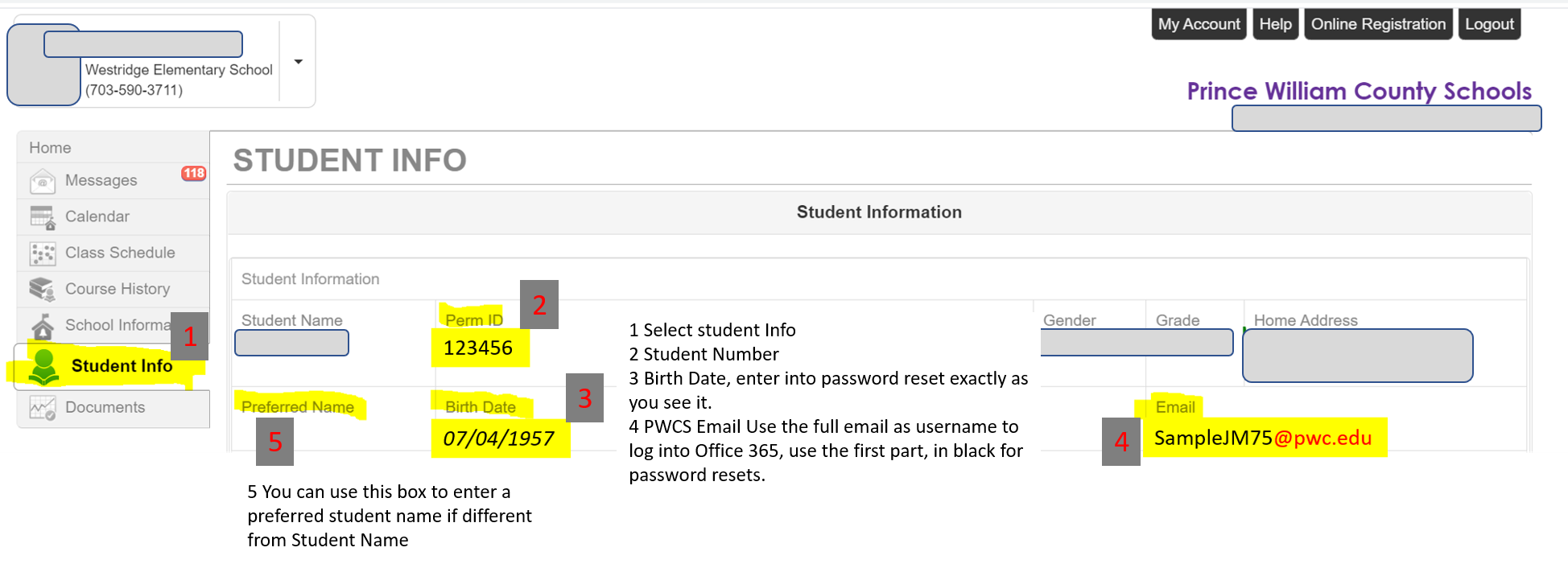 Screen shot of ParentVue student info with explanations